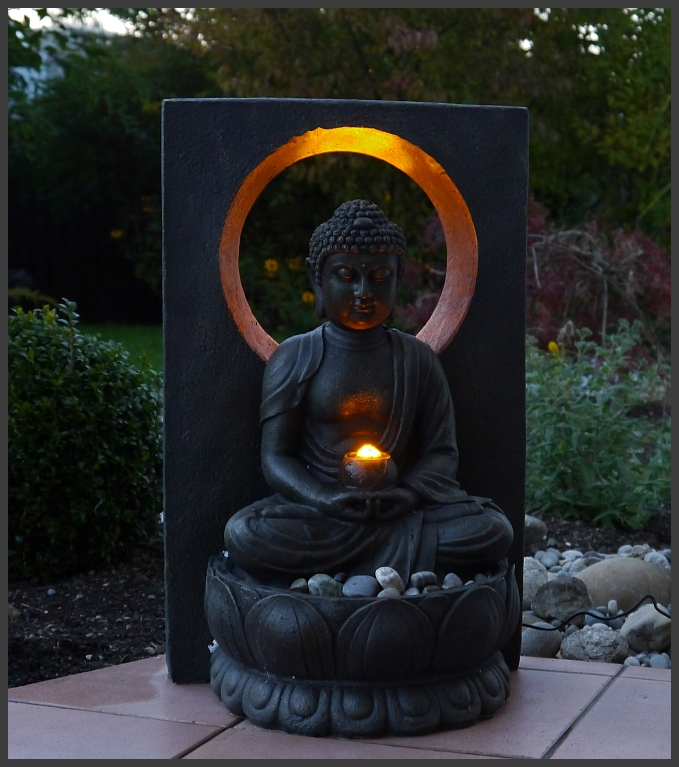 brunnen zimmerbrunnen buddha 58 cm ho mit led licht asiatika neu ebay. Black Bedroom Furniture Sets. Home Design Ideas