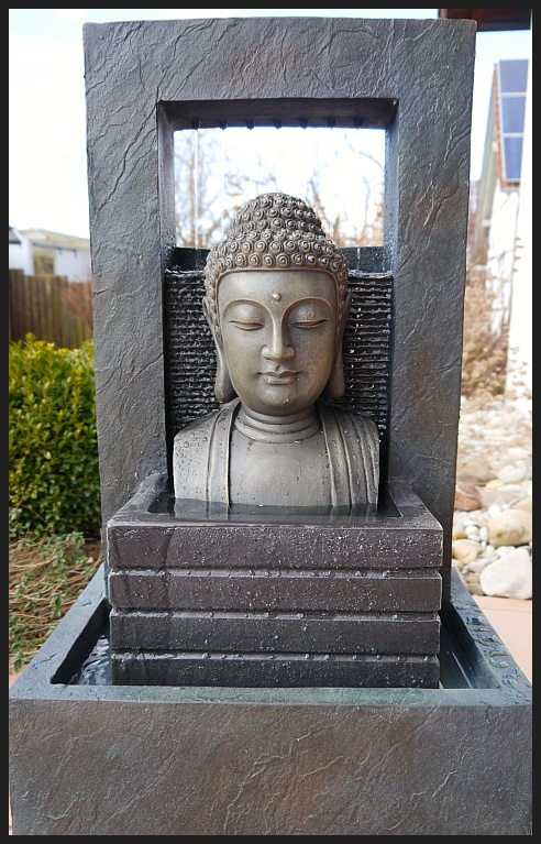 buddha brunnen zimmerbrunnen wasserwand 74 cm ho led licht modern neu ebay. Black Bedroom Furniture Sets. Home Design Ideas