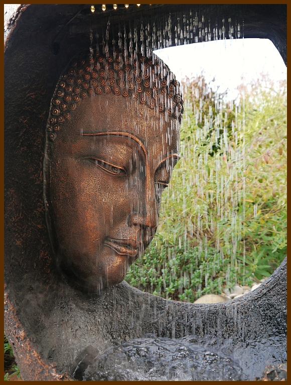 Brunnen wasserwand buddha m hand 90 cm ho mit led licht u nebler runde form ebay - Gartenbrunnen buddha ...