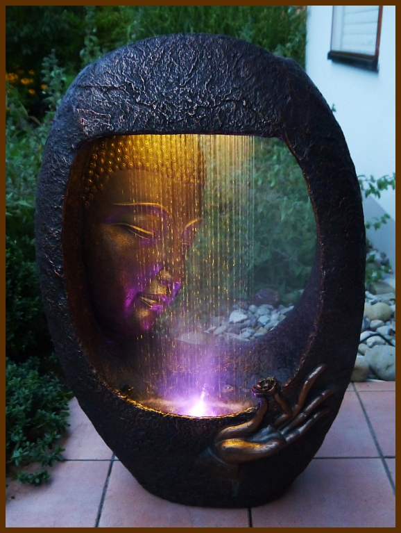 brunnen wasserwand buddha m hand 90 cm ho mit led licht u nebler runde form ebay. Black Bedroom Furniture Sets. Home Design Ideas