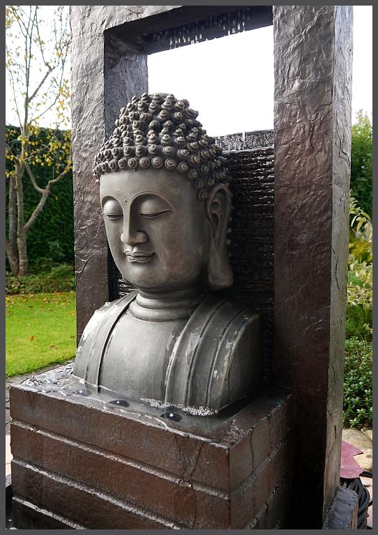 Gro er buddha brunnen modern 109 cm ho gartenbrunnen wasserwand 4 x led licht ebay - Gartenbrunnen buddha ...
