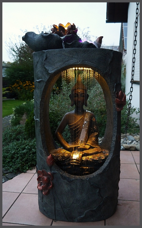 xxl buddha brunnen wasserwand 117 cm ho led licht u nebelfunktion neu ebay. Black Bedroom Furniture Sets. Home Design Ideas
